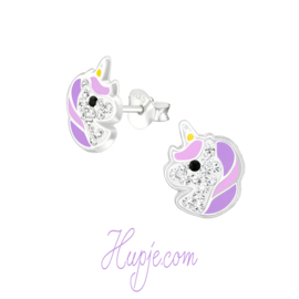 Silberne Ohrringe Einhorn Starlight lila + Kristalle