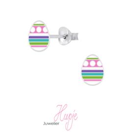 zilveren kinderoorbellen paasei roze paars blauw groen