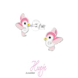 zilveren kinderoorbellen roze vogeltje