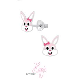 zilveren kinderoorbellen konijn roze strikje