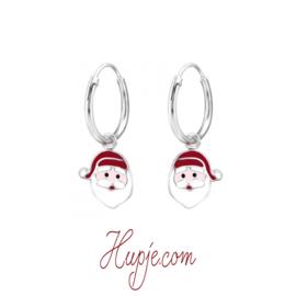 zilveren kinderoorbellen kerstman creolen