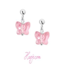 zilveren kinderoorbellen hanger vlinder roze kristal