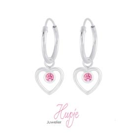 zilveren oorbellen hartje open roze kristal