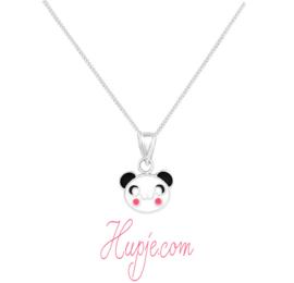 zilveren kinderketting panda roze wangetjes