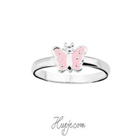 Silberner Kinderring Schmetterling rosa silberne Punkte