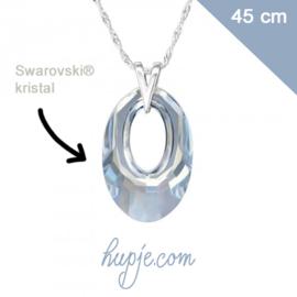 Zilveren ketting met Swarovski® hanger blue shade