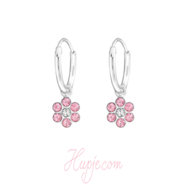 zilveren kinderoorbellen bloem roze kristallen