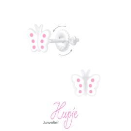 zilveren kinderoorbellen vlinder(met schroefsluiting!)