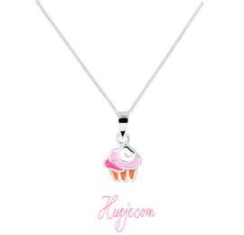zilveren kinderketting cupcake roze