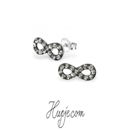 zilveren oorbellen infinity black diamonds
