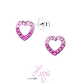 zilveren kinderoorbellen hartje roze kristallen twee kleuren