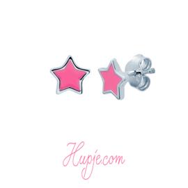 Silberne Ohrringe rosa Stern