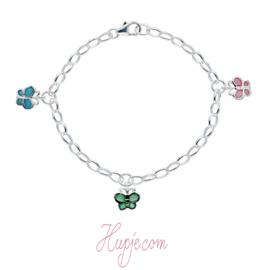 zilveren bedelarmband vlinder blauw groen roze
