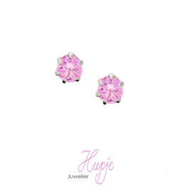 zilveren oorknopjes roze Zirkonia 4 mm