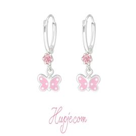 kinderoorbellen vlinder roze kristallen