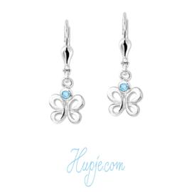 zilveren oorbellen vlinder met blauwe Zirkonia en brisure sluiting