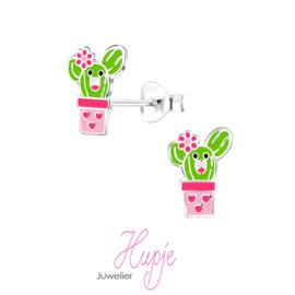 zilveren kinderoorbellen cactus