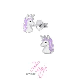 zilveren kinderoorbellen eenhoorn Gigi paars