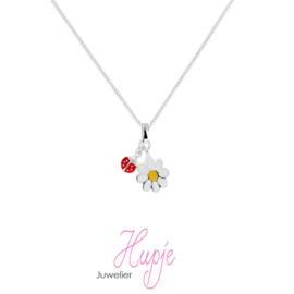 zilveren kinderketting bloem lieveheersbeestje