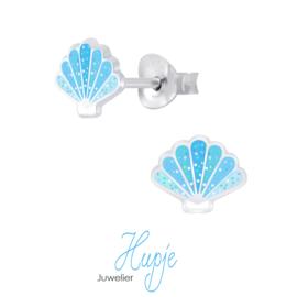 zilveren kinderoorbellen schelp blauw glitter