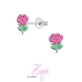 zilveren kinderoorbellen roze roosjes