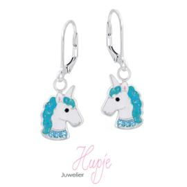 zilveren oorhangers sparkling unicorns zeegroen
