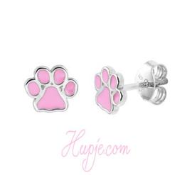 Silberne Kinderohrringe Hundepfoten rosa