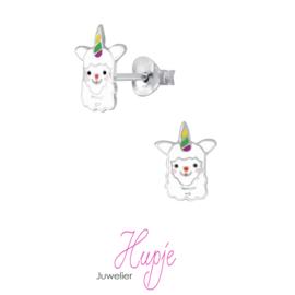 zilveren kinderoorbellen alpaca unicorn