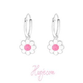 zilveren oorbellen bloem wit en roze glitter