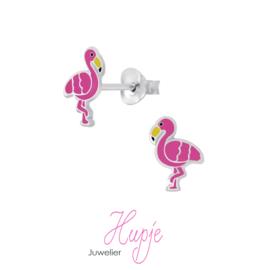 zilveren kinderoorbellen flamingo sun