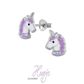 zilveren kinderoorbellen sparkling unicorns paarse kristallen