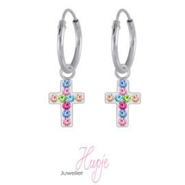 zilveren kinderoorbellen creolen kruisje regenboog kristallen