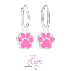 zilveren kinderoorhangers hondenpootjes roze