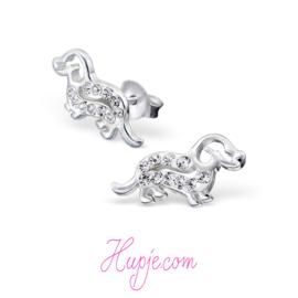 zilveren oorbellen teckel kristallen