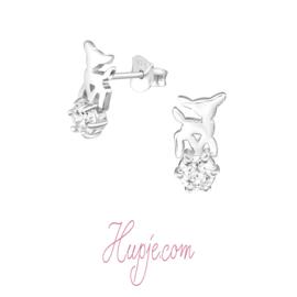 zilveren kinderoorbellen hert + Zirkonia