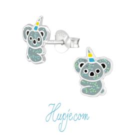 zilveren kinderoorbellen unicorn koala glitter