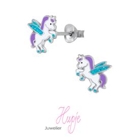 zilveren kinderoorbellen eenhoorn paars glitter vleugels
