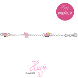 zilveren kinderarmband aardbeitjes roze