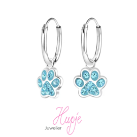 Silberne Kinderohrringe Hundepfoten blaue Kristalle