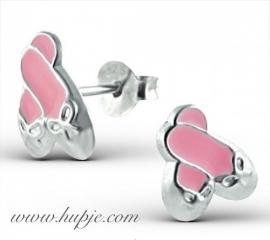 zilveren kinderoorbellen ballet roze