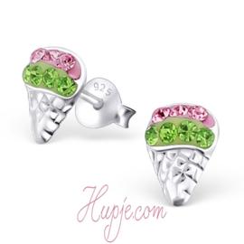 zilveren kinderoorbellen ijsjes groen roze kristallen