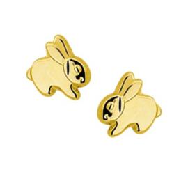 14 karaat gouden oorknopjes konijn