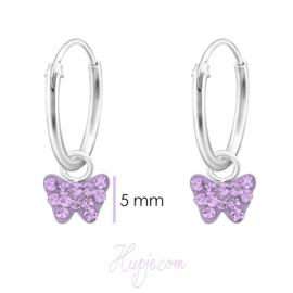 zilveren kinderoorbellen vlinder lila kristallen