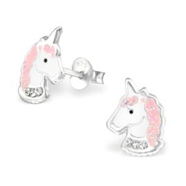 zilveren kinderoorbellen sparkling unicorns