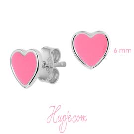 zilveren oorbellen roze hartjes 6 mm