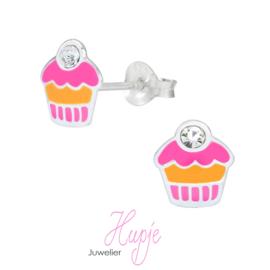 zilveren kinderoorbellen creolen cupcake roze en geel + kristal