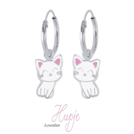 zilveren kinderoorbellen creolen Kitty Cat roze details (premium)