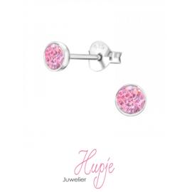 zilveren oorknopjes roze kristallen