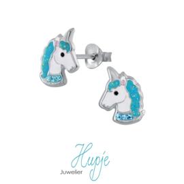 zilveren kinderoorbellen sparkling unicorns zeegroen