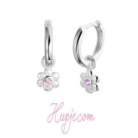 zilveren creolen + hangertje bloem roze Zirkonia